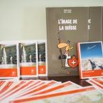 Suisse, montagnes, prospectus, dessin, rouge, Institut Français